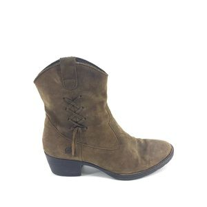 Born Leather Ankle Boots 9 Western Braided Brown